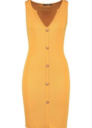 Платье миди в рубчик горчичное для высоких на выскоий рост