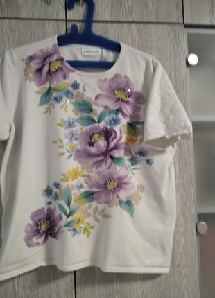 Кофточка женская белая с фиолетовыми цветами Alfred Dunner