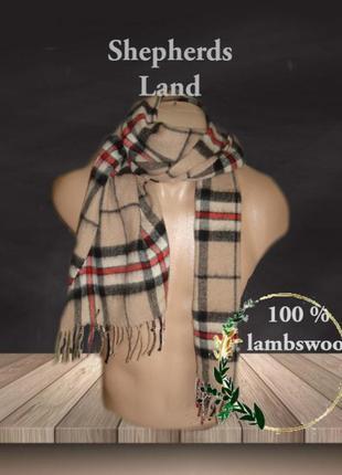 💨❄shepherds land 1,53 100% lambswool теплый мужской шарф в кле...