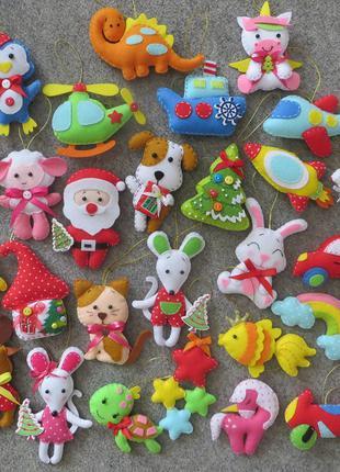 Новогодние ёлочные игрушки из фетра. Символ 2021 г. Большой выбор