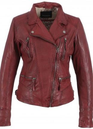 Кожаная куртка -косуха oakwood ,цвет бургунди ,.размер s