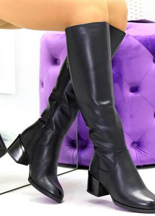 Новые женские зимние кожаные чёрные высокие сапоги