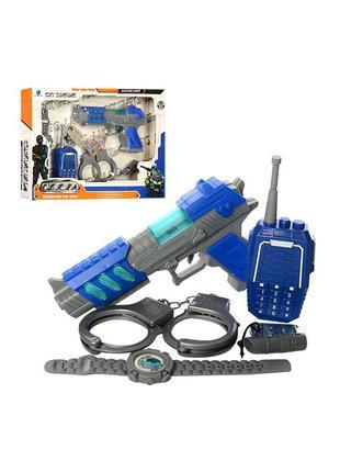 Набор полицейского, пистолет, наручники, часы, рация, звук, свет,