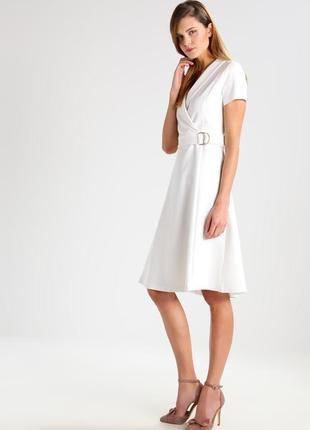 Белое плотное платье миди с поясом mint&berry, размер l