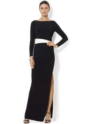 Черное длинное вечернее платье в пол с длинным рукавом, красив...