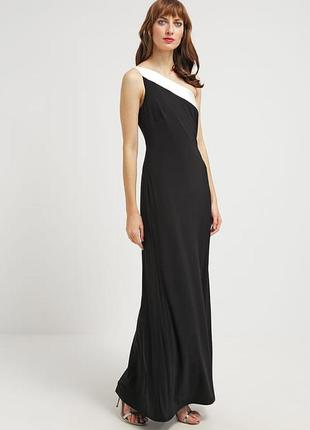 Черное длинное платье вечернее, асимметрия с открытым плечом/ ...