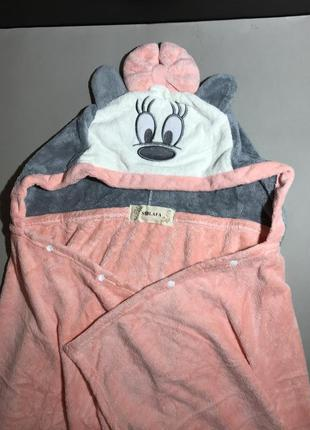 Полотенце - плед плюшевый с капюшоном детское