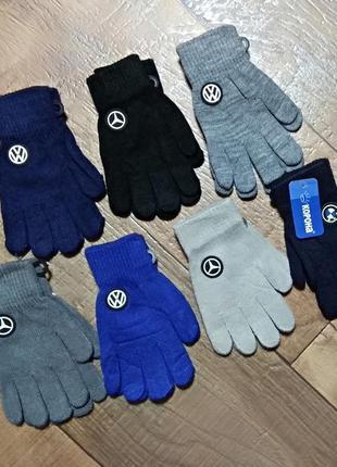 Перчатки рукавицы подростковые детские мальчик с начесом,6-8л