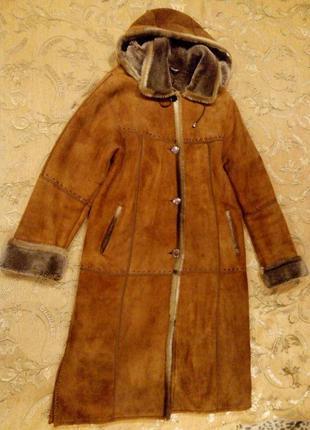 Дублёнка-пальто (длинная) женская коричневая