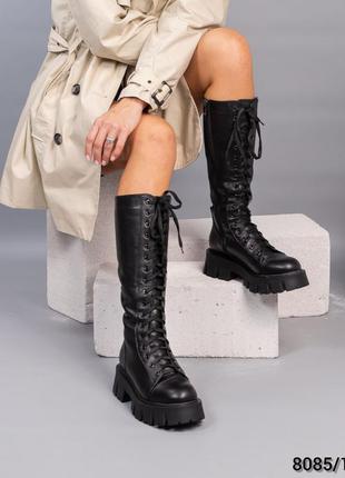 Кожаные зимние сапоги на шнуровке натуральная кожа