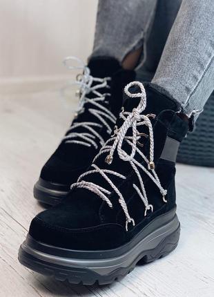 Ботинки женские зимние, натуральная замша, внутри эко-мех,плат...