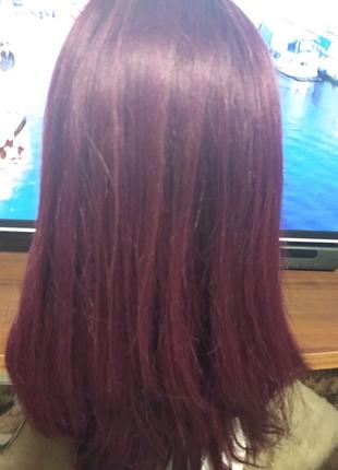 Натуральный новый парик Реми бордовый