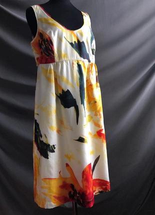 Легкое летнее шелковое платье по колено миди 100% шелк, xl