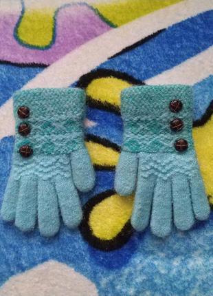 Голубые перчатки для девочки 3-5 лет