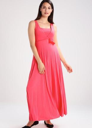 Коралловое длинное макси платье pomkin для беременных m