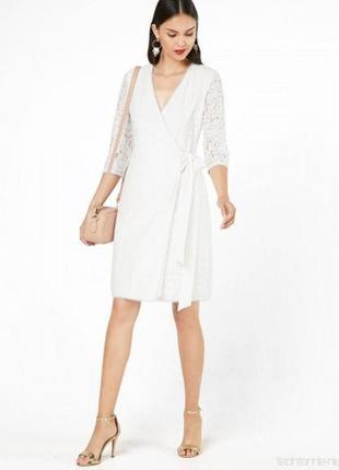 Белое платье миди по колено с кружевом от four flavor s