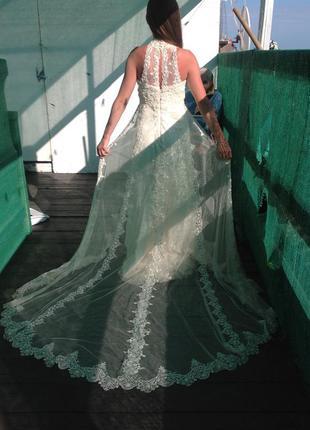 Свадебное платье айвори американка шлейф