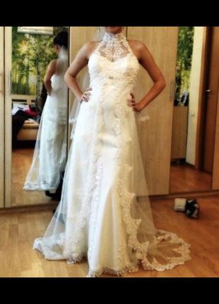 Свадебное платье кружево шлейф айвори американка