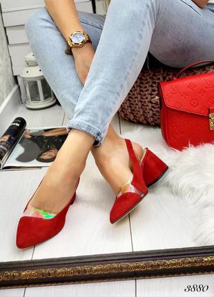 Туфли босоножки кожа замш средний каблук