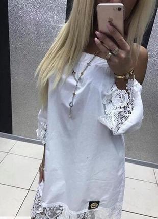 Туника платье котон кружево