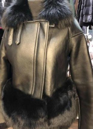 Куртка чернобурка мех кожа косуха дубленка шубка
