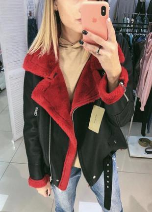 Дубленка куртка зима теплая мех