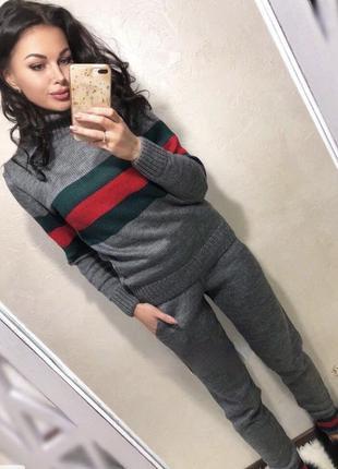 Костюм свитер кофта брюки вязка