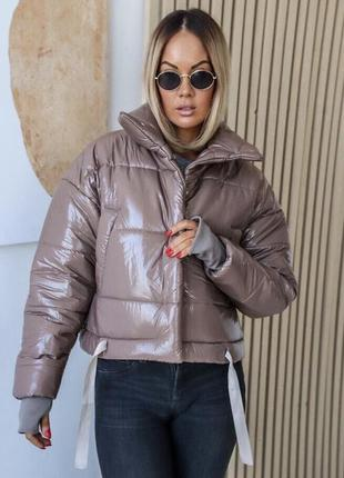 Куртка бомбер пуховик лаковый плащевка