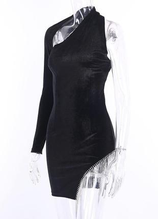 Платье камни велюр бархат одно плечо. есть возврат