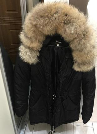 Парка бомбер куртка мех  енот песец чернобурка