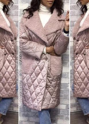 Пальто пуховик куртка мех