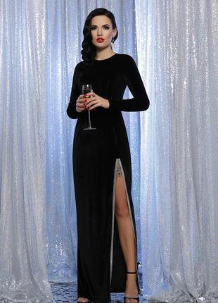 Вечернее длинное нарядное платье с велюра