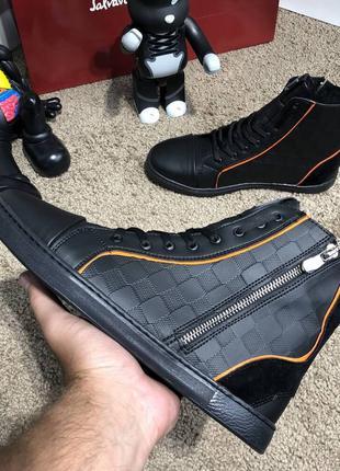 Ботинки зимние, кожаные, мех, Louis Vuitton Harlem Damier Infini