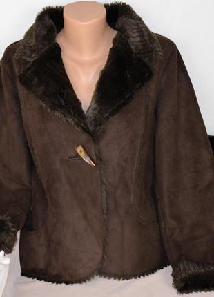 Брендовая коричневая дубленка с карманами per una мех акрил эт...