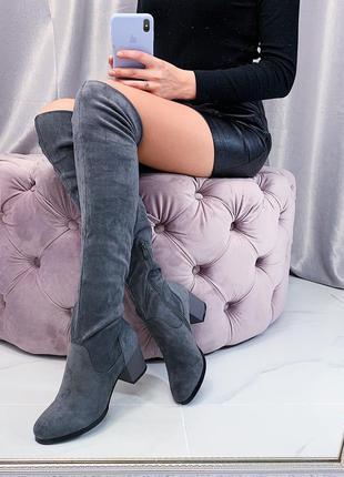 Серые замшевые сапоги ботфорты на каблуке,серые демисезонные с...