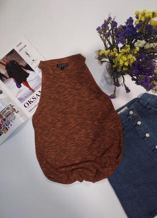 🔥акция 3=5🔥topshop модная блузка майка легкая в рубчик с чокер...