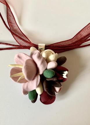 Кулон с цветами «совиньон». подарок девушке на новый год