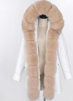 Парка куртка зимняя песец мех чернобурка енот