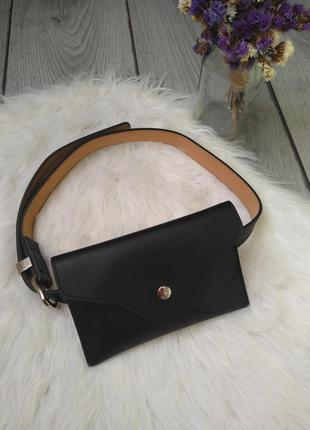 Стильная модная поясная сумка черная