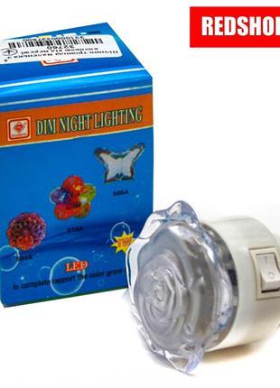 Детский светильник - Ночник Роза светодиодный в розетку (LED цвет