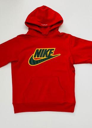 Худи supreme x nike leather applique hooded sweatshirt (red)