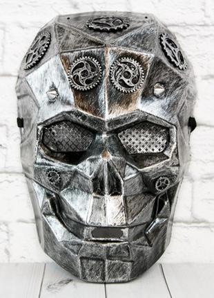 Карнавальная маска киборг череп стимпанк