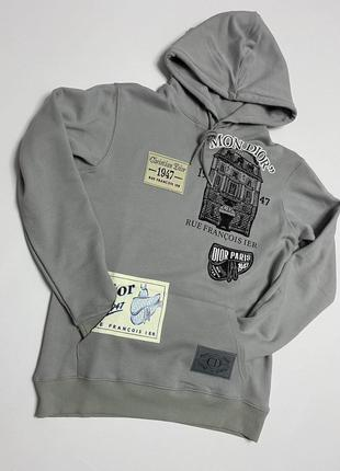 Толстовка dior archives patch hoodie grey