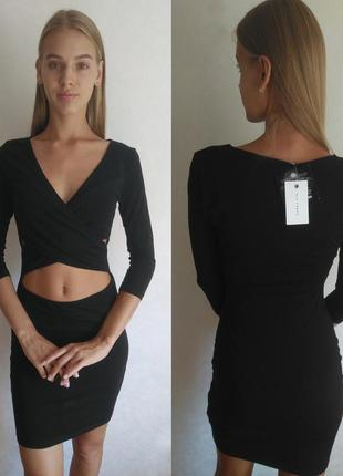 🔥акция 3=5🔥nly trend новое чёрное платье базовое спереди навкр...