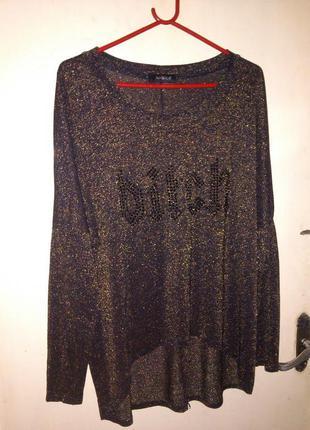 """чёрное золото"",трикотаж-стрейч,блузка-туника с удлинён.спинко..."