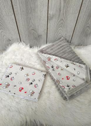 Новый minky минки плюш плед конверт одеяло мягкое серое с рису...