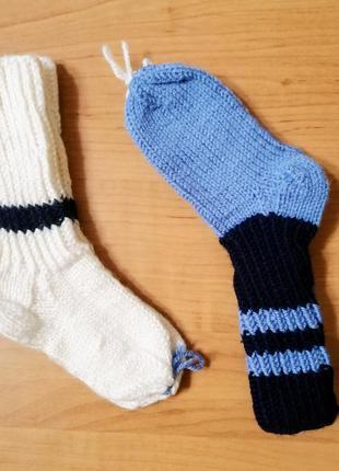 Вязаные носки для мальчика 2-3 лет - 2 пары, длина по стопе 12 см
