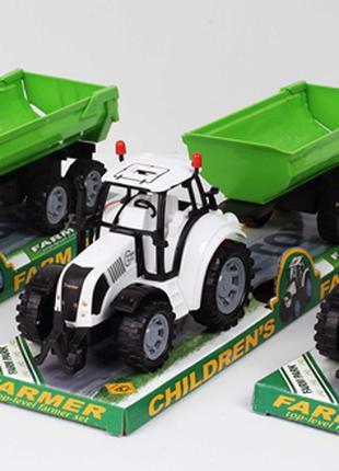 Трактор инерц. FB17-9 (72шт/2) с прицепом, 3 цвета, под слюдой 37