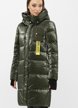 Куртка женская теплая зимняя с капюшоном удлиненная