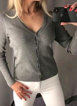 Джемпер свитерок кофта на пуговицах серый свитшот
